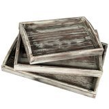 MyGift Country Rustic Serving Trays